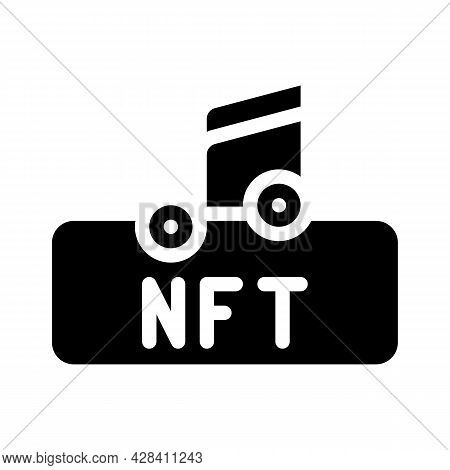Nft And Music Glyph Icon Vector. Nft And Music Sign. Isolated Contour Symbol Black Illustration