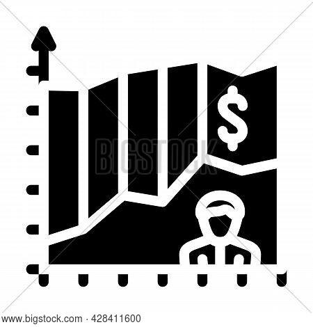 Investor Income Chart Glyph Icon Vector. Investor Income Chart Sign. Isolated Contour Symbol Black I