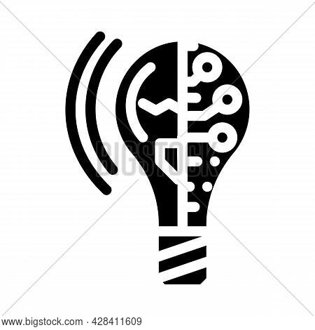Lightning Innovative Idea Glyph Icon Vector. Lightning Innovative Idea Sign. Isolated Contour Symbol
