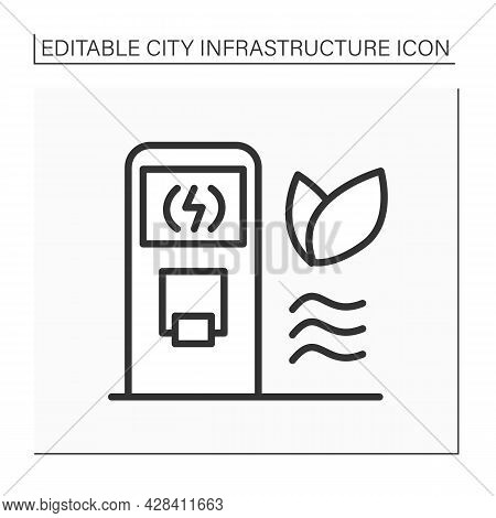Charging Station Line Icon. Electric Vehicle Charging Station, Electric Recharging. Eco-friendly Rec