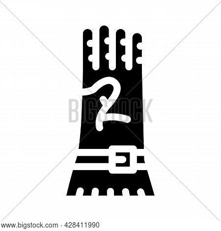 Protective Glove Glyph Icon Vector. Protective Glove Sign. Isolated Contour Symbol Black Illustratio