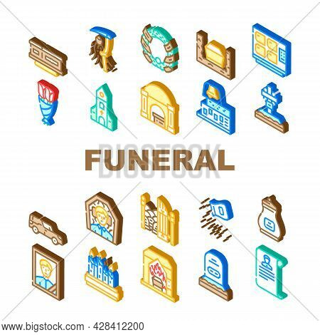 Funeral Dead Ceremony Collection Icons Set Vector. Urn And Grave, Car And Coffin, Flowers And Wreath