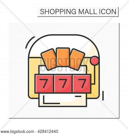 Casino Color Icon. Gambling Gaming. Hosting Live Entertainment Area. Shopping Mall Concept. Isolated