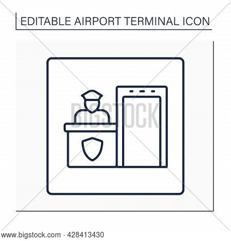 Security Post Line Icon. Screening And Check-in Passengers.pointer.protecting Passengers, Staff, Air