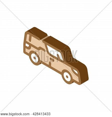 Funeral Hearse Isometric Icon Vector. Funeral Hearse Sign. Isolated Symbol Illustration
