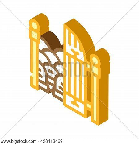 Entrance Gate To Cemetery Isometric Icon Vector. Entrance Gate To Cemetery Sign. Isolated Symbol Ill