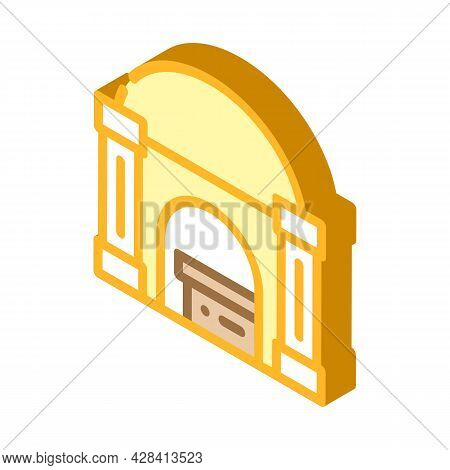 Funeral Crypt Isometric Icon Vector. Funeral Crypt Sign. Isolated Symbol Illustration