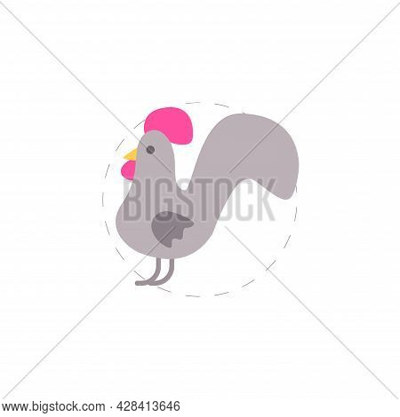 Cock Flat Clipart. Cock Simple Vector Clipart.