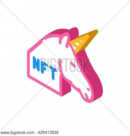 Nft Unicorn Isometric Icon Vector. Nft Unicorn Sign. Isolated Symbol Illustration