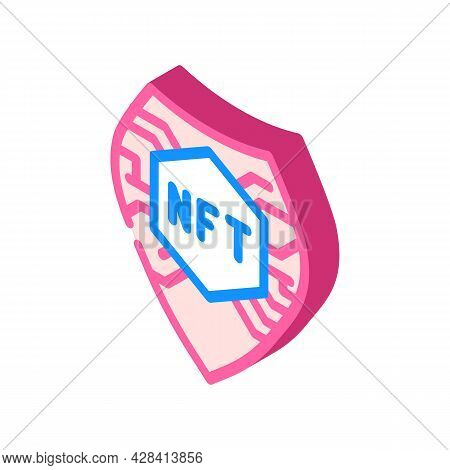 Nft Shield Isometric Icon Vector. Nft Shield Sign. Isolated Symbol Illustration