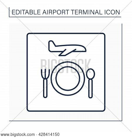Restaurant Line Icon. Eating Space In Airport.pointer Sign. Pointer.dining Provided Average Meals To