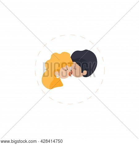 Couple In Love Kisses Clipart. Couple In Love Kisses Simple Vector Clipart.