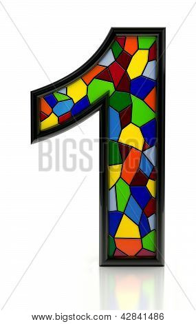Number 1 symbol with multicolored mosaic tiles, isolated on white background.