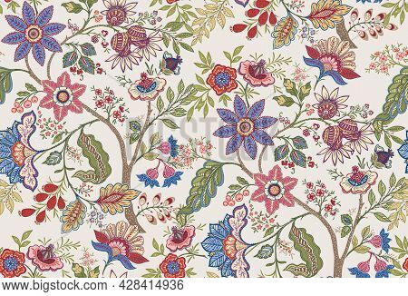 Fantasy Flowers In Retro, Vintage, Jacobean Embroidery Style. Seamless Pattern, Background. Vector I