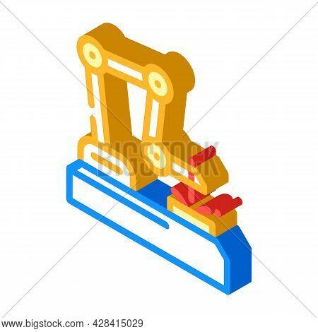 Robot Welder Isometric Icon Vector. Robot Welder Sign. Isolated Symbol Illustration