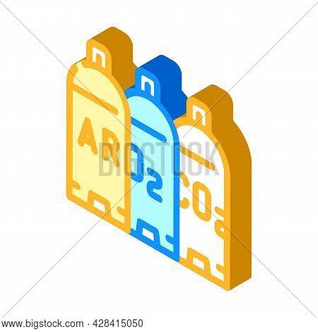Welding Gases Argon, Oxygen, Carbon Dioxide Isometric Icon Vector. Welding Gases Argon, Oxygen, Carb