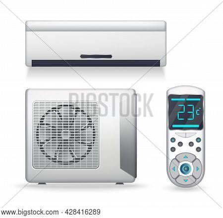Air Conditioner System - Realistic Set With Cooling Or Heating Equipment. Electronic Appliance Or De