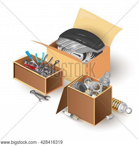 Cartoon Carpentry Construction And House Renovation Tools, Car Maintenance, Wrench, Screwdriver. Vec
