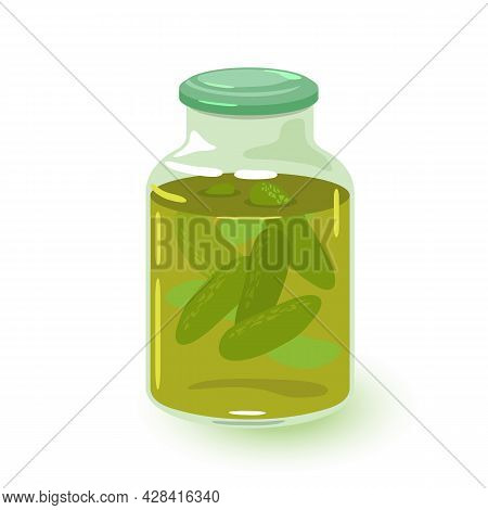 Cartoon Vegetable Conserve Saves Vitamins In Container. Vector Pickled Cucumber Juice, Snack, Winter
