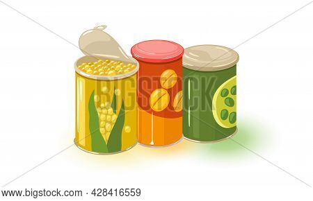 Cartoon Of Tin Containers With Boiled Corn And Green Beans. Vector Summer Preservation, Grandmother