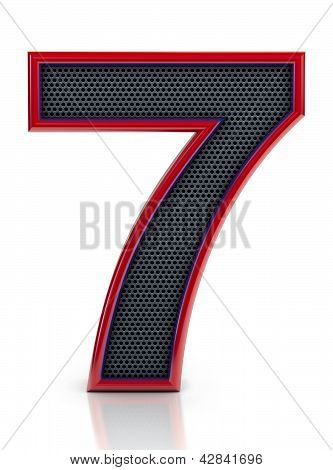 Number 7 symbol with grille mesh inside isolated on white background.
