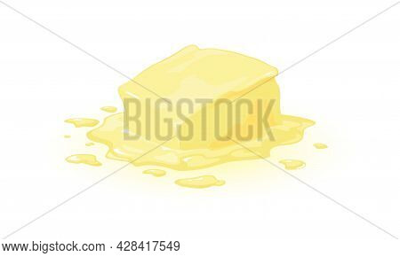 Calorie Product Margarine, Diary Breakfast Food, Natural Animal Fat. Vector Cooking, Whole Stick Of