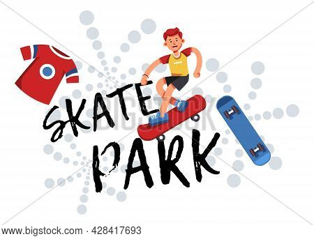 Skate Park Practicing Of Skills And Rest For Teens