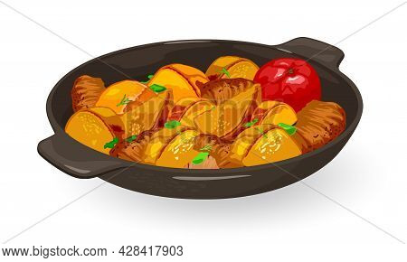 Frying Pan With Potatoes, Spring Onion And Meat. Vector Pan Wok, Ukrainian Dish, Fat And Oily Dinner