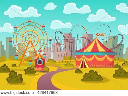Amusement Park Attractions With Merry-go-round Horseabout Carousel, Observation Wheel And Roller Coa