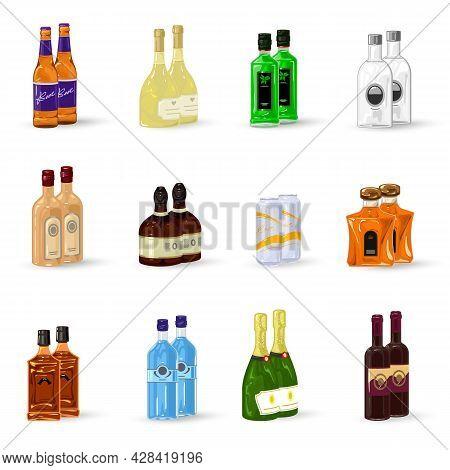 Cartoon Set Of Elite Alcohol Drinks For Bars, Restaurant Menu, Catalog, Export. Vector Packed Bottle