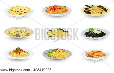 Cartoon Set Of Cooked Pasta Dishes, Traditional European Food, Tasty Lunch. Vector Of Various Types