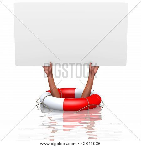 Blank Card In Drowning Hands