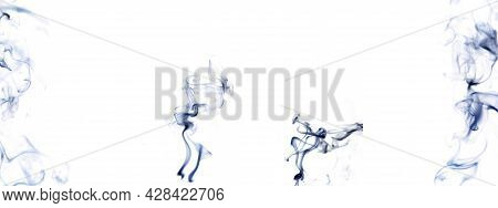 Smoke Steam Set. Blur Black Smoke, Abstract Fog Group Or Steam Mist Cloud Isolated On White Backgrou
