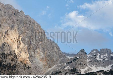 Albanian Mountain Ridge At Sunset In Valbone Valley