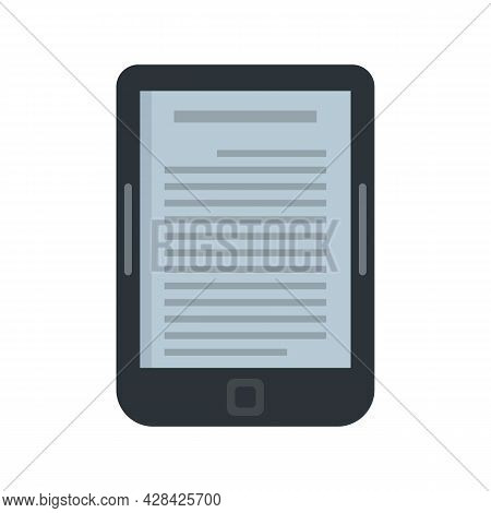 Ebook Reader Icon. Flat Illustration Of Ebook Reader Vector Icon Isolated On White Background
