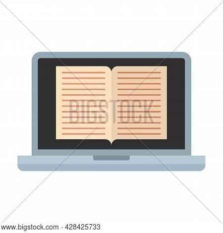 Laptop Ebook Icon. Flat Illustration Of Laptop Ebook Vector Icon Isolated On White Background