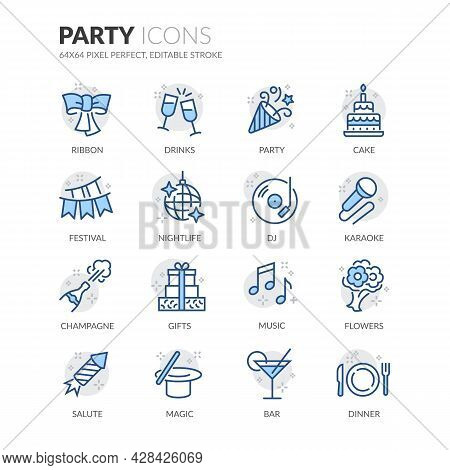 Simple Set Of Party Related Vector Line Icons. Contains Such Icons As Festival, Karaoke, Music And M