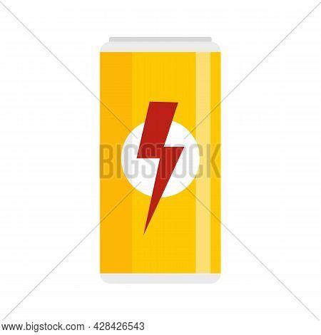 Aluminum Energy Drink Icon. Flat Illustration Of Aluminum Energy Drink Vector Icon Isolated On White