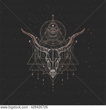 Vector Illustration With Hand Drawn Antelope Skull And Sacred Geometric Symbol On Black Vintage Back