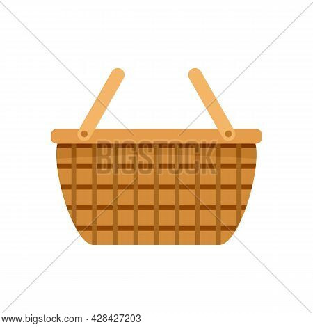 Wicker Hamper Icon. Flat Illustration Of Wicker Hamper Vector Icon Isolated On White Background