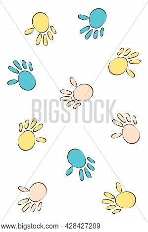 Hands Of A Baby Or Child In Blue And Yellow Paint. Handprints On The Wall. Cute Cozy Poster For Baby