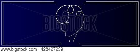 Banner Template For Site, Social Networks, Flyers. Continuous Line Drawing Of Portrait Of A Beautifu