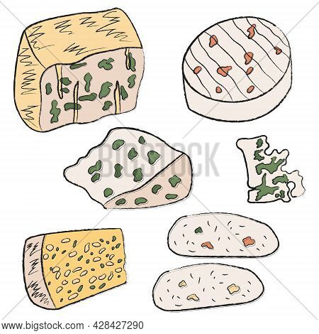 Big Collection Of Simple Linear Flat Icons With Cheeses. Set Of Italian And French White Soft Cheese