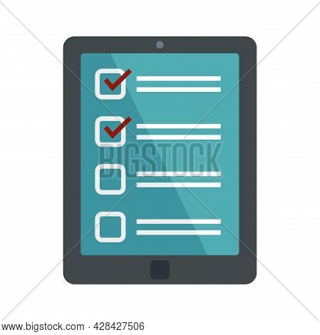 Inventory Tablet Icon. Flat Illustration Of Inventory Tablet Vector Icon Isolated On White Backgroun