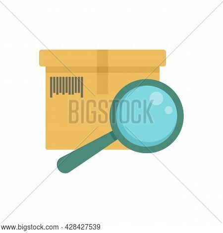 Inventory Magnifier Icon. Flat Illustration Of Inventory Magnifier Vector Icon Isolated On White Bac