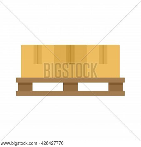 Parcel Pallet Icon. Flat Illustration Of Parcel Pallet Vector Icon Isolated On White Background