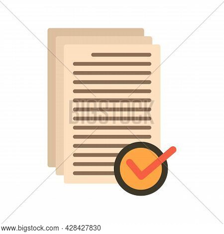 Receive Approved Documents Icon. Flat Illustration Of Receive Approved Documents Vector Icon Isolate