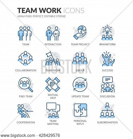 Simple Set Of Team Work Related Vector Line Icons. Contains Such Icons As Cooperation, Collaboration