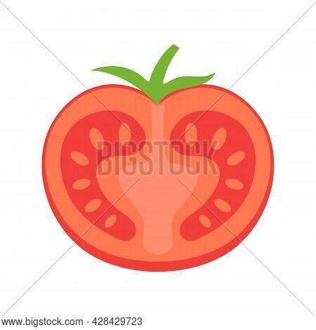 Tasty Half Tomato Icon. Flat Illustration Of Tasty Half Tomato Vector Icon Isolated On White Backgro