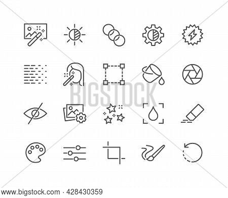 Simple Set Of Photo Editing Related Vector Line Icons. Contains Such Icons As Brightness, Filter, Di